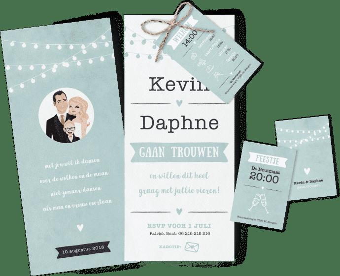 Trouwkaart Daphne en Kevin